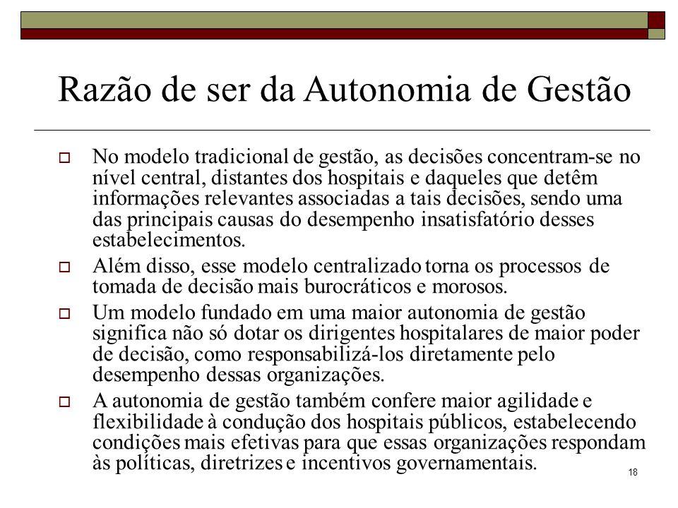 18 Razão de ser da Autonomia de Gestão No modelo tradicional de gestão, as decisões concentram-se no nível central, distantes dos hospitais e daqueles