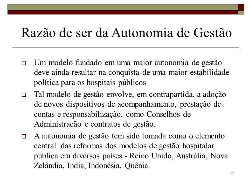 19 Um modelo fundado em uma maior autonomia de gestão deve ainda resultar na conquista de uma maior estabilidade política para os hospitais públicos T