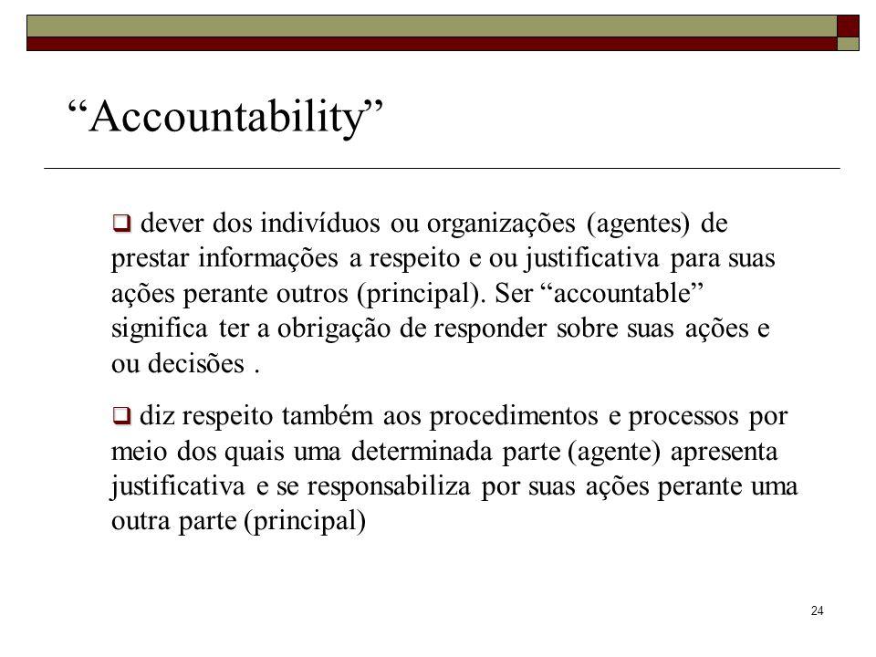 24 Accountability dever dos indivíduos ou organizações (agentes) de prestar informações a respeito e ou justificativa para suas ações perante outros (