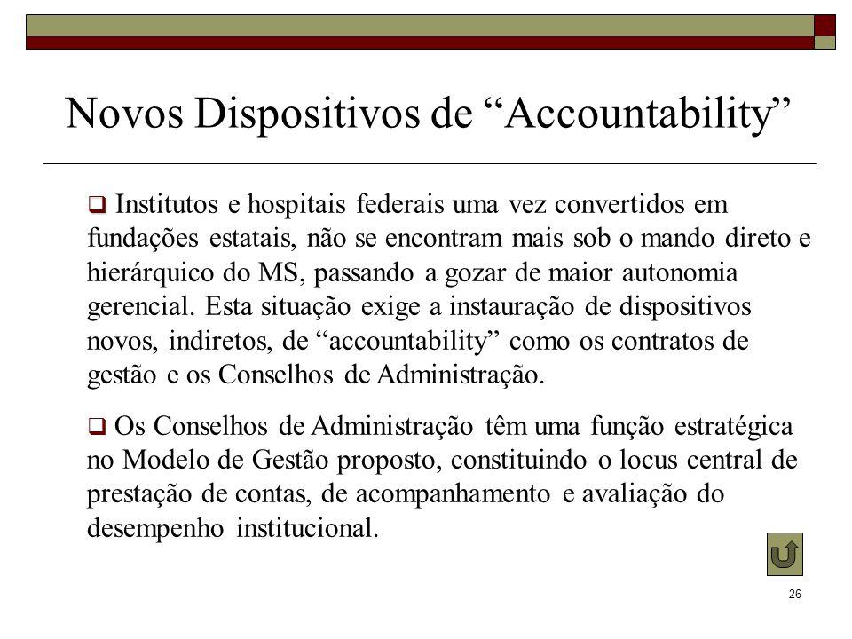 26 Novos Dispositivos de Accountability Institutos e hospitais federais uma vez convertidos em fundações estatais, não se encontram mais sob o mando d