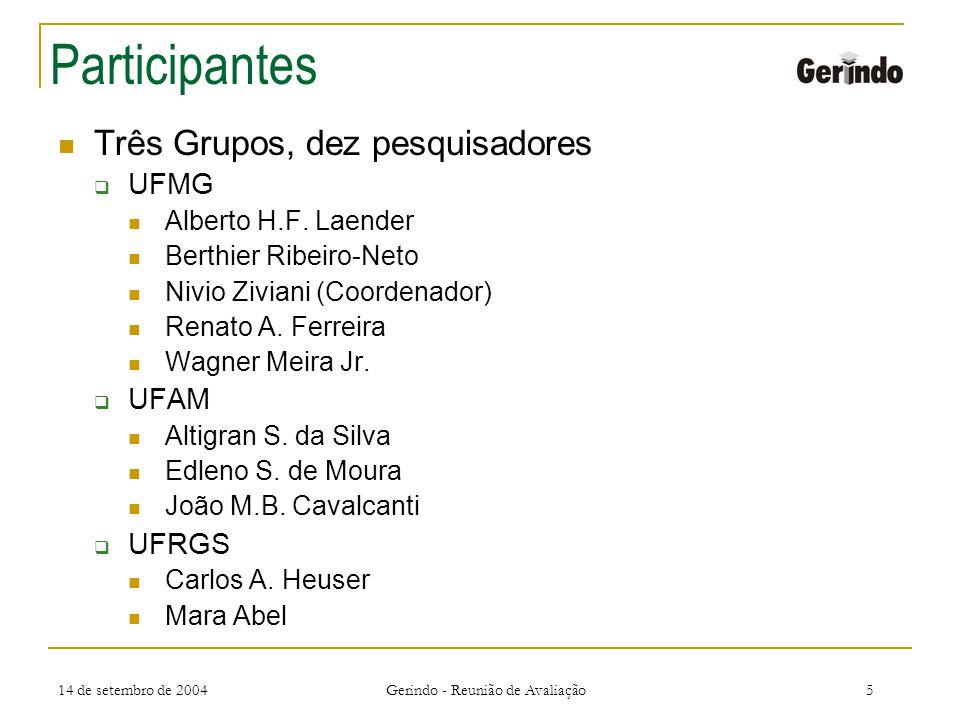 14 de setembro de 2004 Gerindo - Reunião de Avaliação5 Participantes Três Grupos, dez pesquisadores UFMG Alberto H.F.