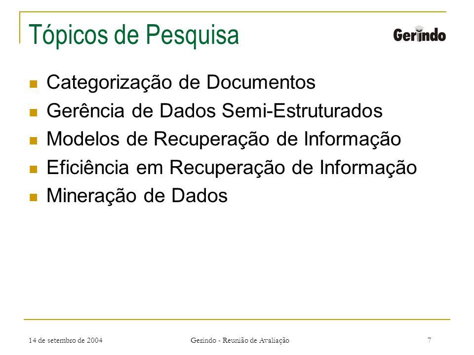 14 de setembro de 2004 Gerindo - Reunião de Avaliação7 Tópicos de Pesquisa Categorização de Documentos Gerência de Dados Semi-Estruturados Modelos de Recuperação de Informação Eficiência em Recuperação de Informação Mineração de Dados