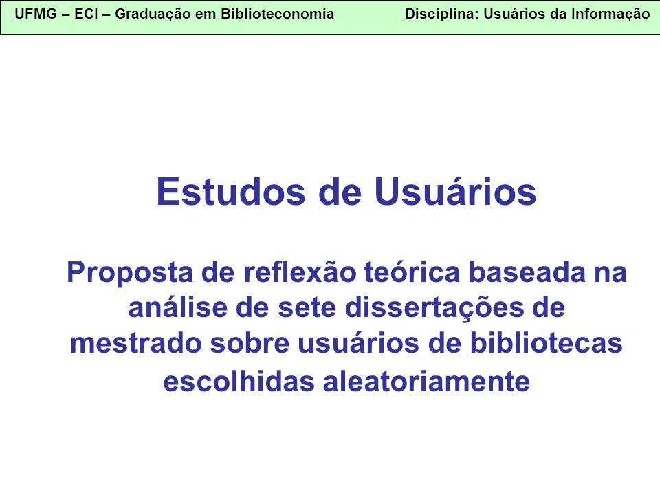 UFMG – ECI – Graduação em Biblioteconomia Disciplina: Usuários da Informação Estudos de Usuários Proposta de reflexão teórica baseada na análise de se