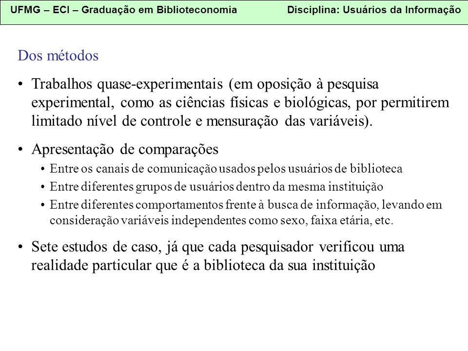 UFMG – ECI – Graduação em Biblioteconomia Disciplina: Usuários da Informação Dos métodos Trabalhos quase-experimentais (em oposição à pesquisa experim
