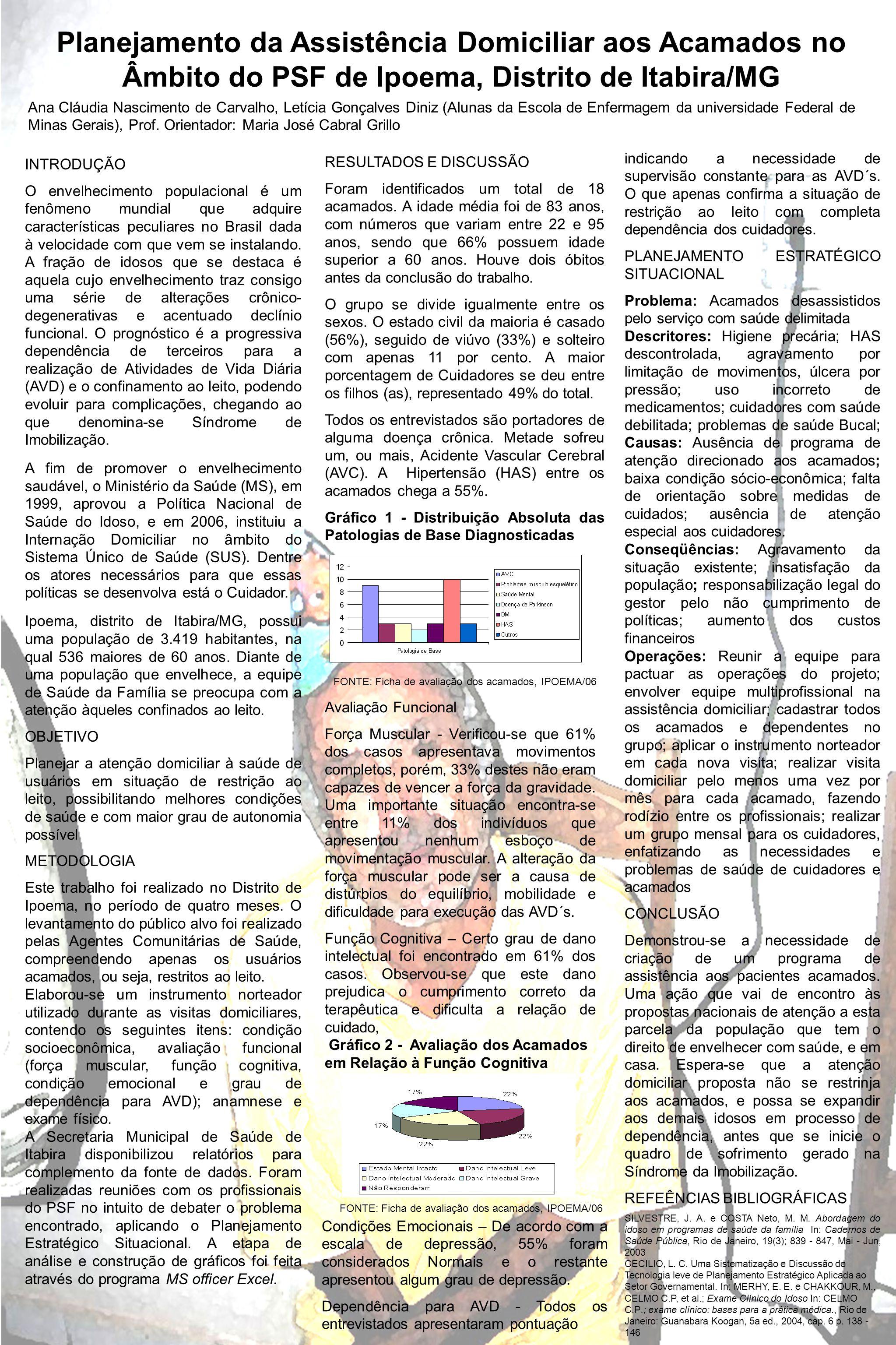 Planejamento da Assistência Domiciliar aos Acamados no Âmbito do PSF de Ipoema, Distrito de Itabira/MG INTRODUÇÃO O envelhecimento populacional é um f