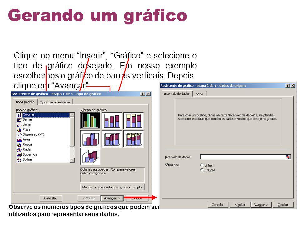 Clique no menu Inserir, Gráfico e selecione o tipo de gráfico desejado. Em nosso exemplo escolhemos o gráfico de barras verticais. Depois clique em Av
