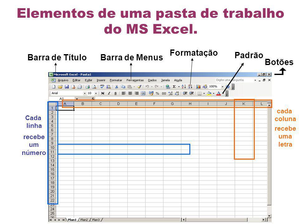 recebe um número recebe uma letra Elementos de uma pasta de trabalho do MS Excel. cada coluna Cada linha Barra de Título Barra de Menus Formatação Pad