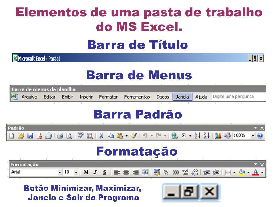 Barra de Título Barra de Menus Elementos de uma pasta de trabalho do MS Excel. Barra Padrão Formatação Botão Minimizar, Maximizar, Janela e Sair do Pr
