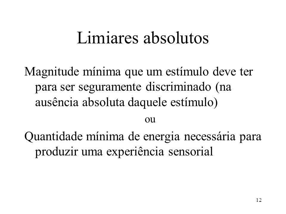 12 Limiares absolutos Magnitude mínima que um estímulo deve ter para ser seguramente discriminado (na ausência absoluta daquele estímulo) ou Quantidade mínima de energia necessária para produzir uma experiência sensorial