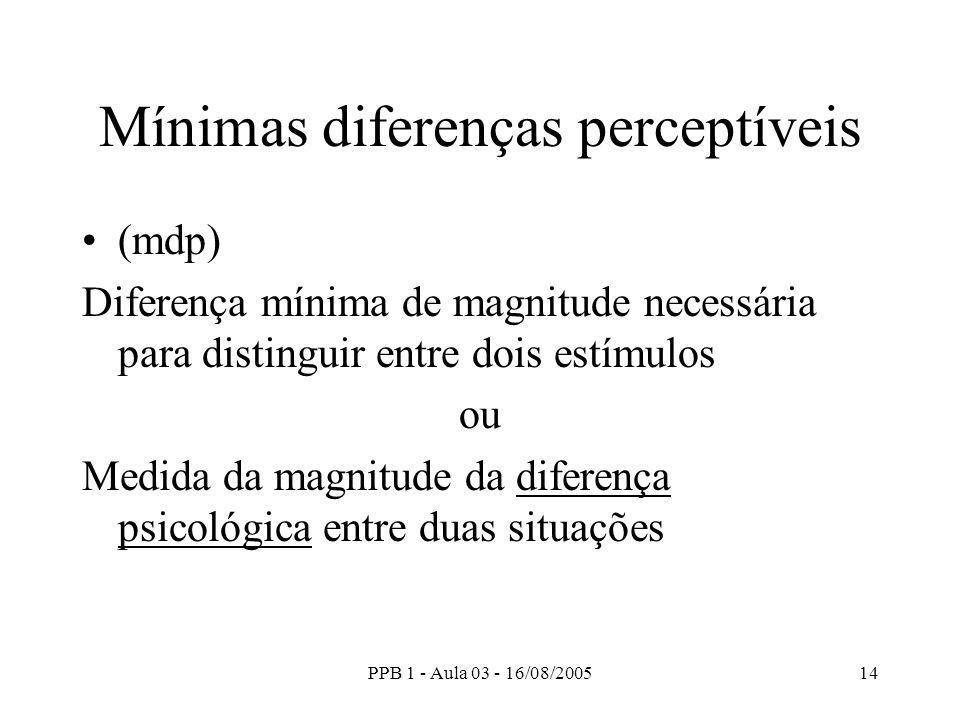 PPB 1 - Aula 03 - 16/08/200514 Mínimas diferenças perceptíveis (mdp) Diferença mínima de magnitude necessária para distinguir entre dois estímulos ou Medida da magnitude da diferença psicológica entre duas situações