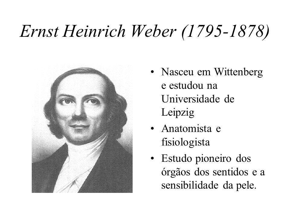 Ernst Heinrich Weber (1795-1878) Nasceu em Wittenberg e estudou na Universidade de Leipzig Anatomista e fisiologista Estudo pioneiro dos órgãos dos sentidos e a sensibilidade da pele.