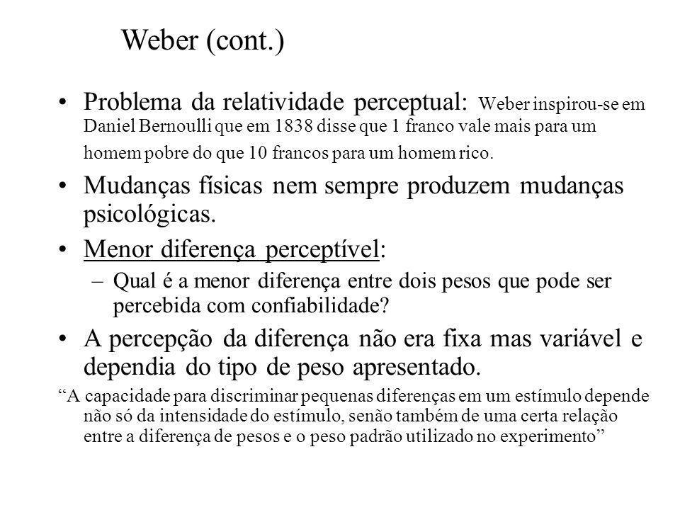 Problema da relatividade perceptual: Weber inspirou-se em Daniel Bernoulli que em 1838 disse que 1 franco vale mais para um homem pobre do que 10 francos para um homem rico.