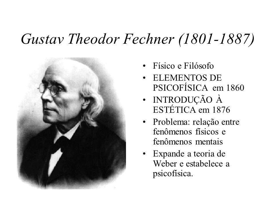 Gustav Theodor Fechner (1801-1887) Físico e Filósofo ELEMENTOS DE PSICOFÍSICA em 1860 INTRODUÇÃO À ESTÉTICA em 1876 Problema: relação entre fenômenos físicos e fenômenos mentais Expande a teoria de Weber e estabelece a psicofísica.
