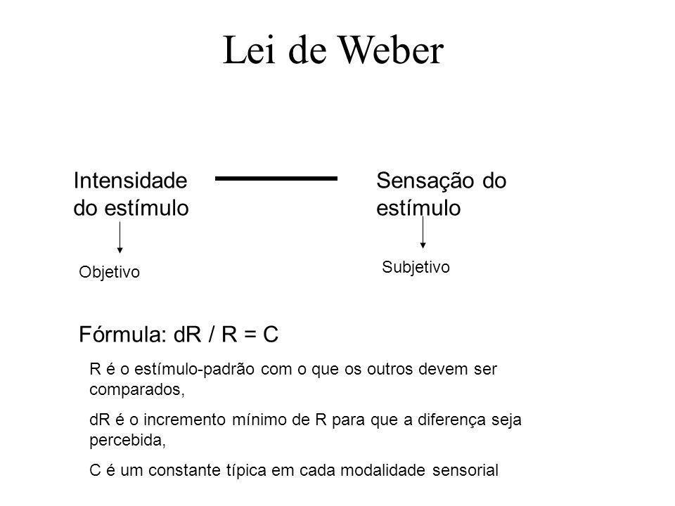 Lei de Weber Intensidade do estímulo Sensação do estímulo Objetivo Subjetivo Fórmula: dR / R = C R é o estímulo-padrão com o que os outros devem ser comparados, dR é o incremento mínimo de R para que a diferença seja percebida, C é um constante típica em cada modalidade sensorial