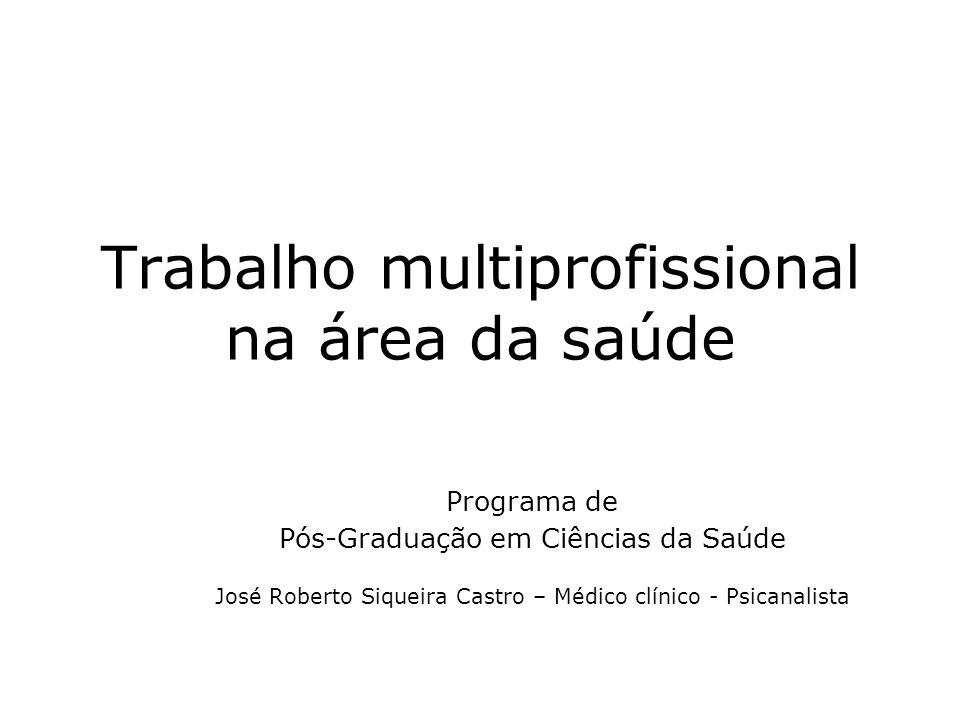 Trabalho multiprofissional na área da saúde Programa de Pós-Graduação em Ciências da Saúde José Roberto Siqueira Castro – Médico clínico - Psicanalista