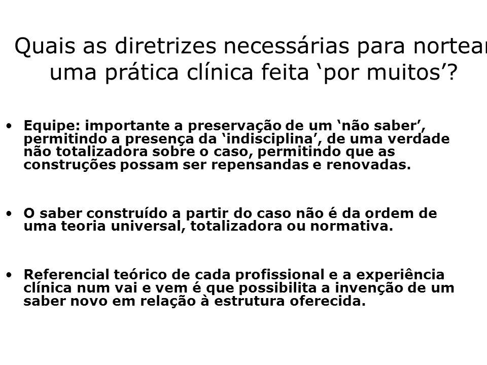 Quais as diretrizes necessárias para nortear uma prática clínica feita por muitos.