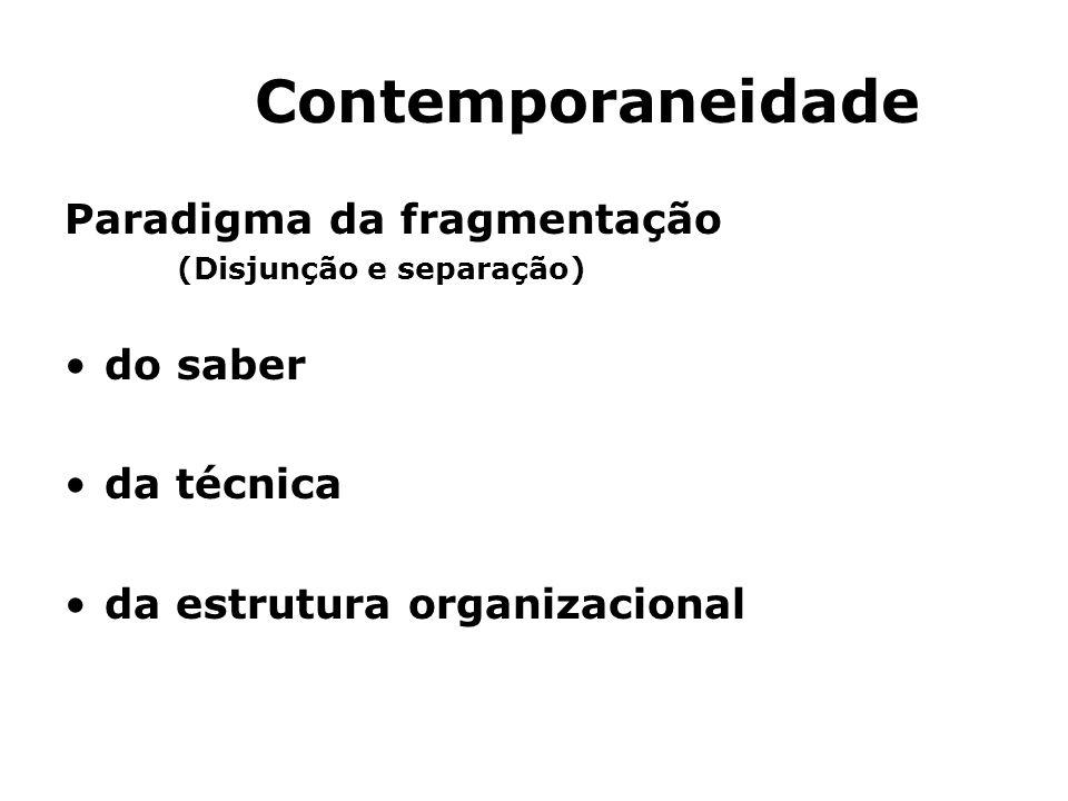 Contemporaneidade Paradigma da fragmentação (Disjunção e separação) do saber da técnica da estrutura organizacional