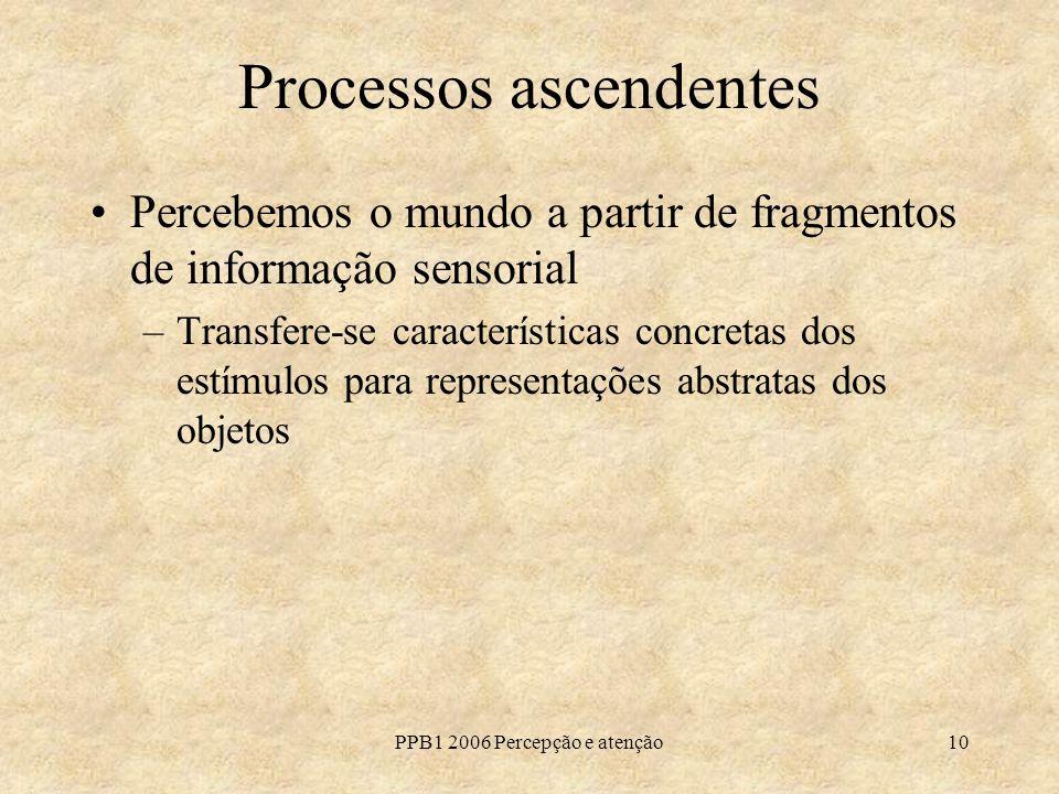 PPB1 2006 Percepção e atenção10 Processos ascendentes Percebemos o mundo a partir de fragmentos de informação sensorial –Transfere-se características concretas dos estímulos para representações abstratas dos objetos