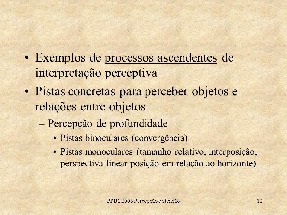 PPB1 2006 Percepção e atenção12 Exemplos de processos ascendentes de interpretação perceptiva Pistas concretas para perceber objetos e relações entre objetos –Percepção de profundidade Pistas binoculares (convergência) Pistas monoculares (tamanho relativo, interposição, perspectiva linear posição em relação ao horizonte)