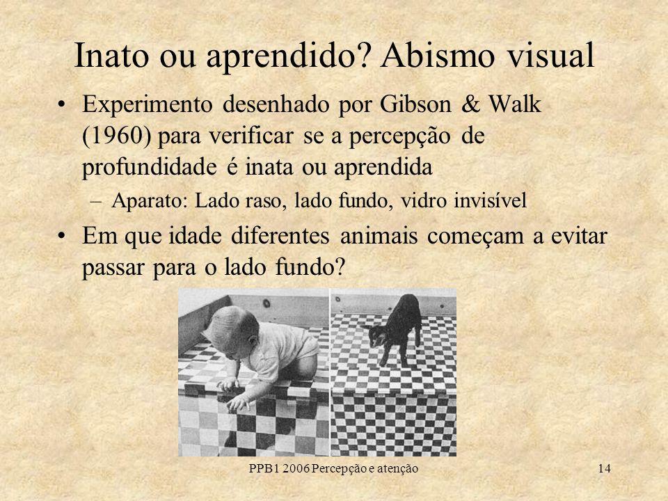 PPB1 2006 Percepção e atenção14 Inato ou aprendido? Abismo visual Experimento desenhado por Gibson & Walk (1960) para verificar se a percepção de prof