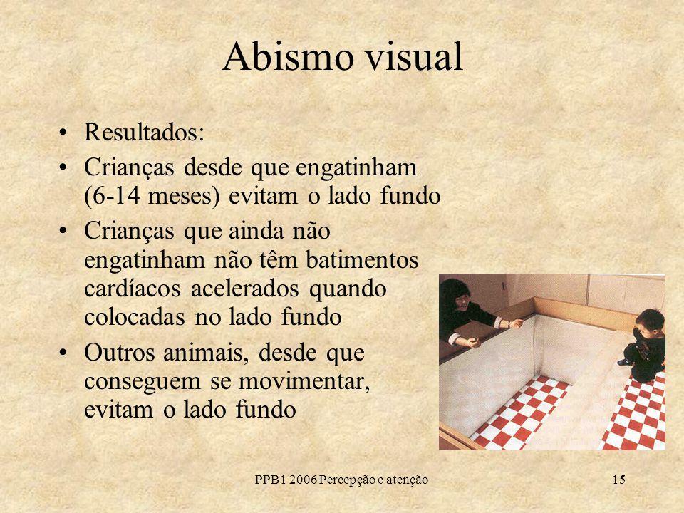 PPB1 2006 Percepção e atenção15 Abismo visual Resultados: Crianças desde que engatinham (6-14 meses) evitam o lado fundo Crianças que ainda não engati