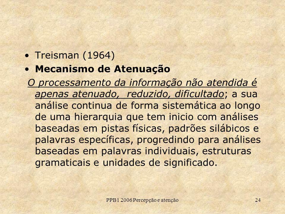 PPB1 2006 Percepção e atenção24 Treisman (1964) Mecanismo de Atenuação O processamento da informação não atendida é apenas atenuado, reduzido, dificul