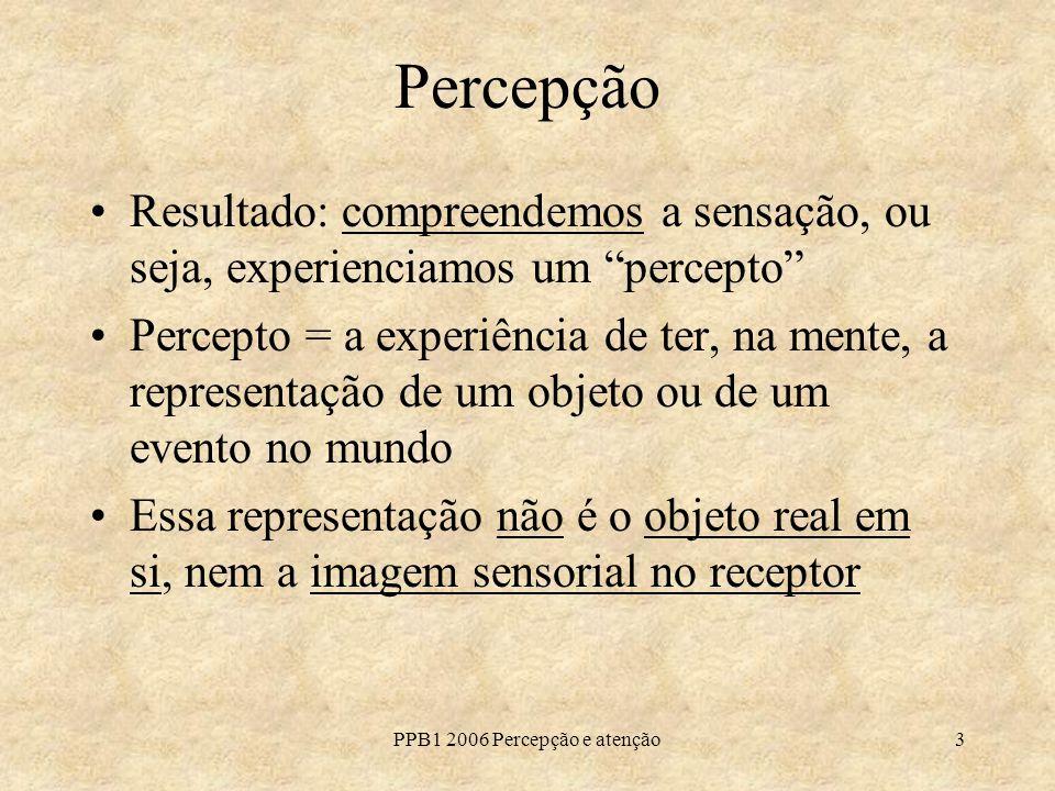 PPB1 2006 Percepção e atenção3 Percepção Resultado: compreendemos a sensação, ou seja, experienciamos um percepto Percepto = a experiência de ter, na mente, a representação de um objeto ou de um evento no mundo Essa representação não é o objeto real em si, nem a imagem sensorial no receptor