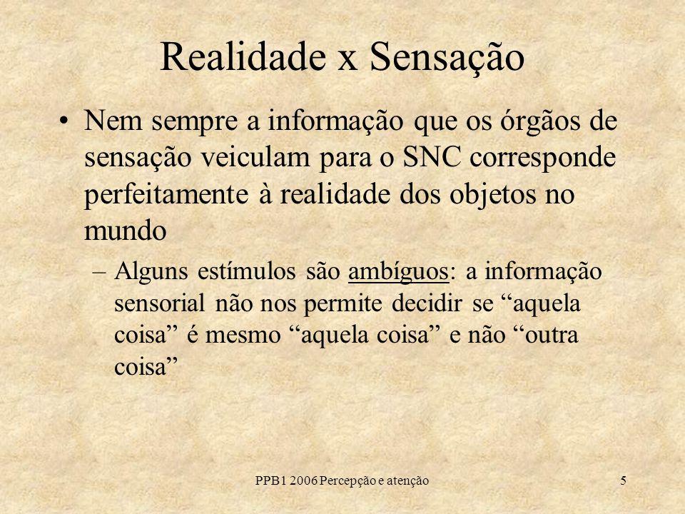 PPB1 2006 Percepção e atenção5 Realidade x Sensação Nem sempre a informação que os órgãos de sensação veiculam para o SNC corresponde perfeitamente à