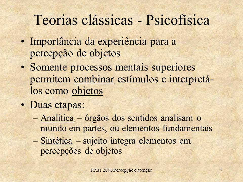 PPB1 2006 Percepção e atenção7 Teorias clássicas - Psicofísica Importância da experiência para a percepção de objetos Somente processos mentais superi