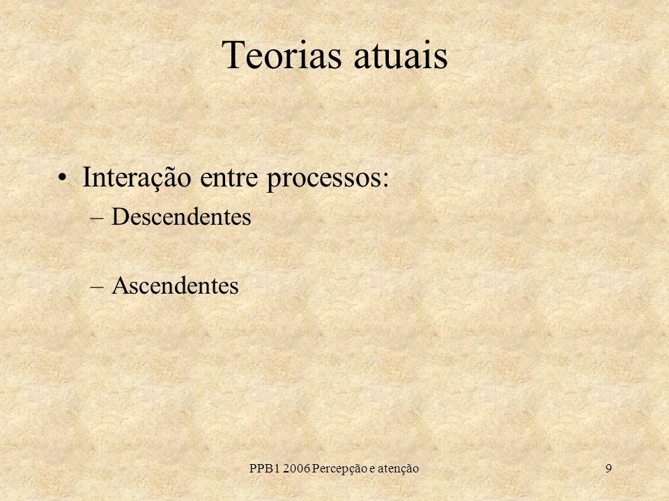PPB1 2006 Percepção e atenção9 Teorias atuais Interação entre processos: –Descendentes –Ascendentes