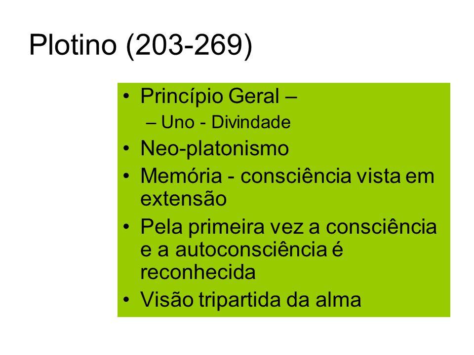 Plotino (203-269) Princípio Geral – –Uno - Divindade Neo-platonismo Memória - consciência vista em extensão Pela primeira vez a consciência e a autoconsciência é reconhecida Visão tripartida da alma