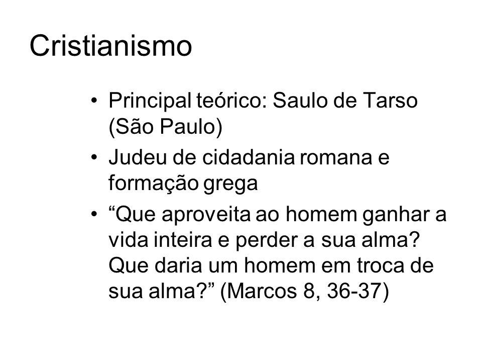 Cristianismo Principal teórico: Saulo de Tarso (São Paulo) Judeu de cidadania romana e formação grega Que aproveita ao homem ganhar a vida inteira e perder a sua alma.