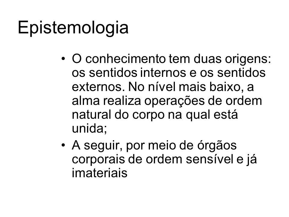 Epistemologia O conhecimento tem duas origens: os sentidos internos e os sentidos externos.