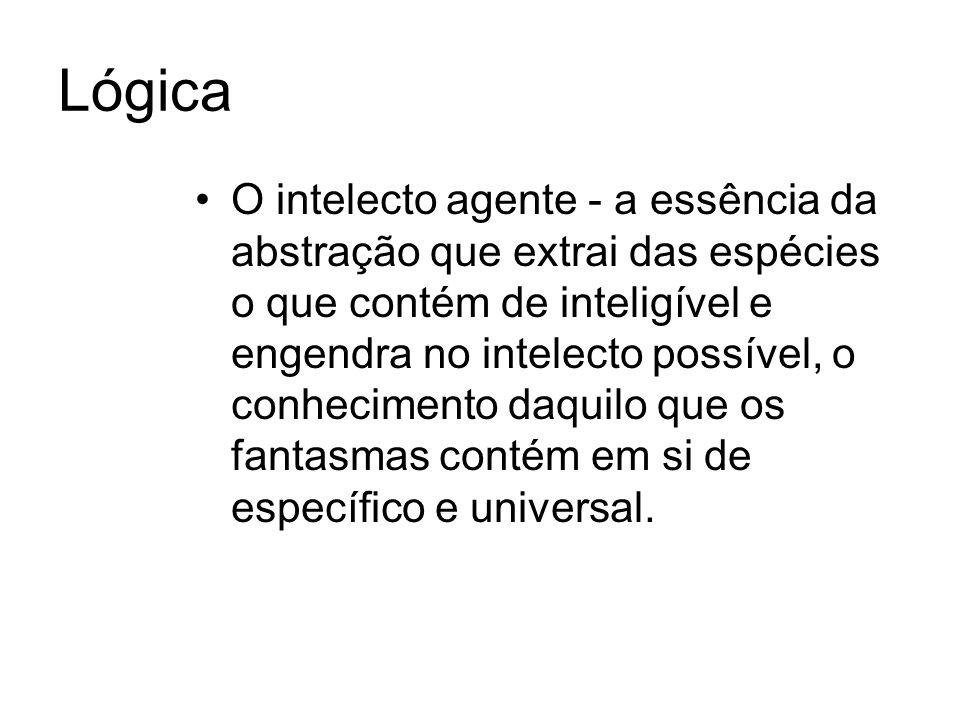 Lógica O intelecto agente - a essência da abstração que extrai das espécies o que contém de inteligível e engendra no intelecto possível, o conhecimento daquilo que os fantasmas contém em si de específico e universal.
