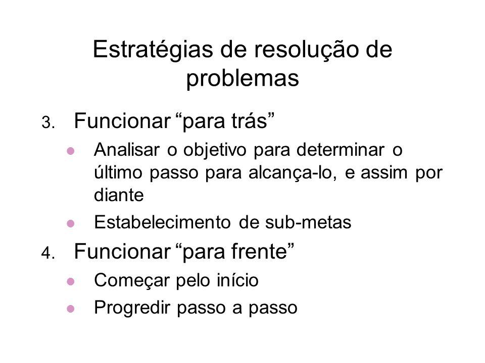 Estratégias de resolução de problemas 3. Funcionar para trás Analisar o objetivo para determinar o último passo para alcança-lo, e assim por diante Es