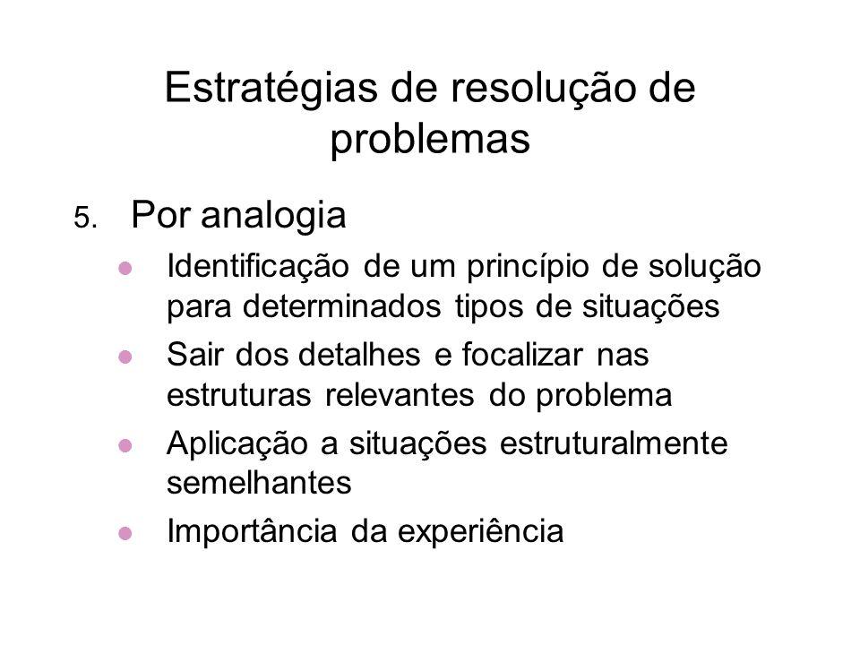 Estratégias de resolução de problemas 5. Por analogia Identificação de um princípio de solução para determinados tipos de situações Sair dos detalhes