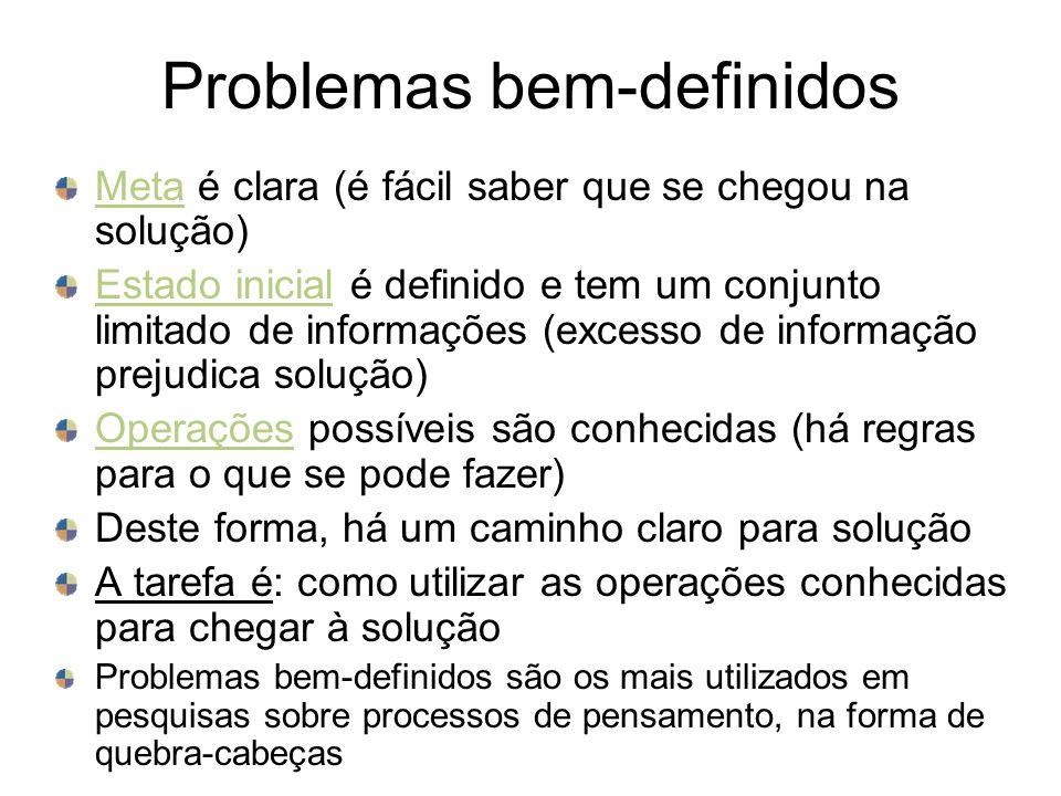 Insight Crucial em problemas mal-definidos Compreensão súbita da solução do problema: reestruturação mental Pensamento produtivo (vs.