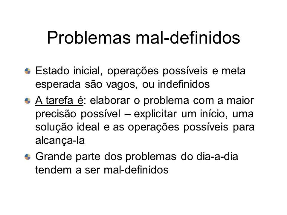 Problemas mal-definidos Estado inicial, operações possíveis e meta esperada são vagos, ou indefinidos A tarefa é: elaborar o problema com a maior prec