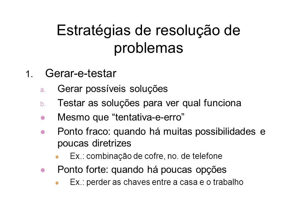 Estratégias de resolução de problemas 1. Gerar-e-testar a. Gerar possíveis soluções b. Testar as soluções para ver qual funciona Mesmo que tentativa-e