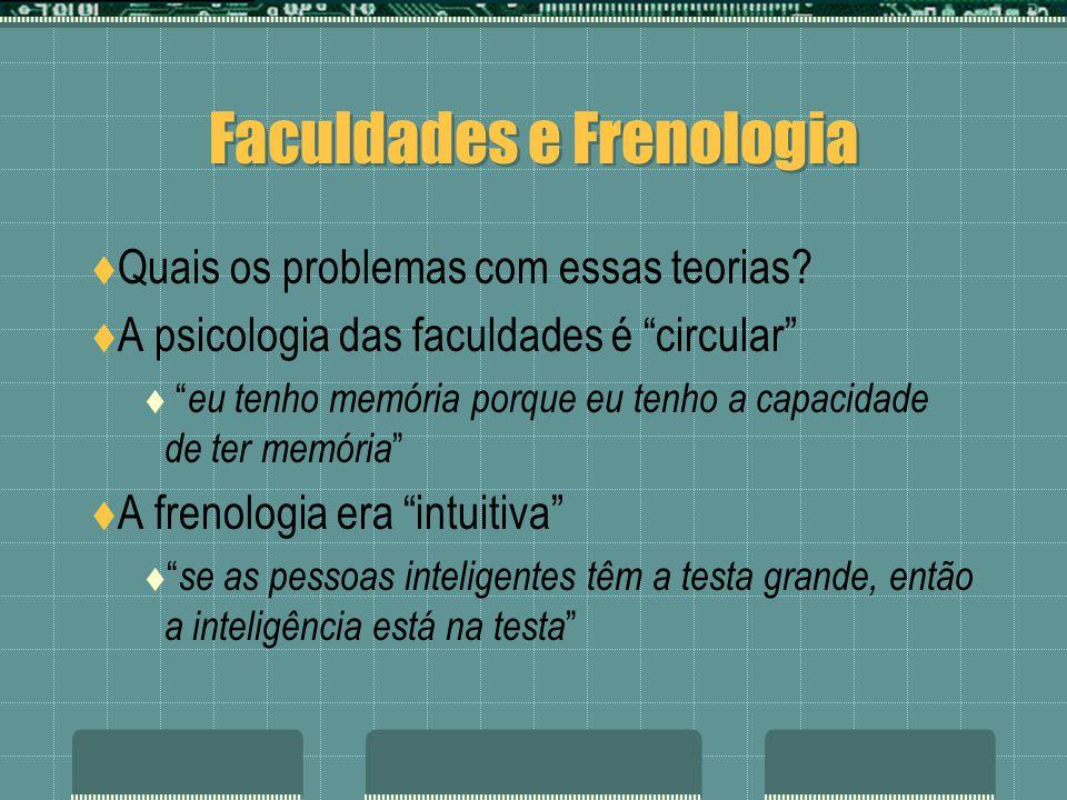 Faculdades e Frenologia Quais os problemas com essas teorias? A psicologia das faculdades é circular eu tenho memória porque eu tenho a capacidade de