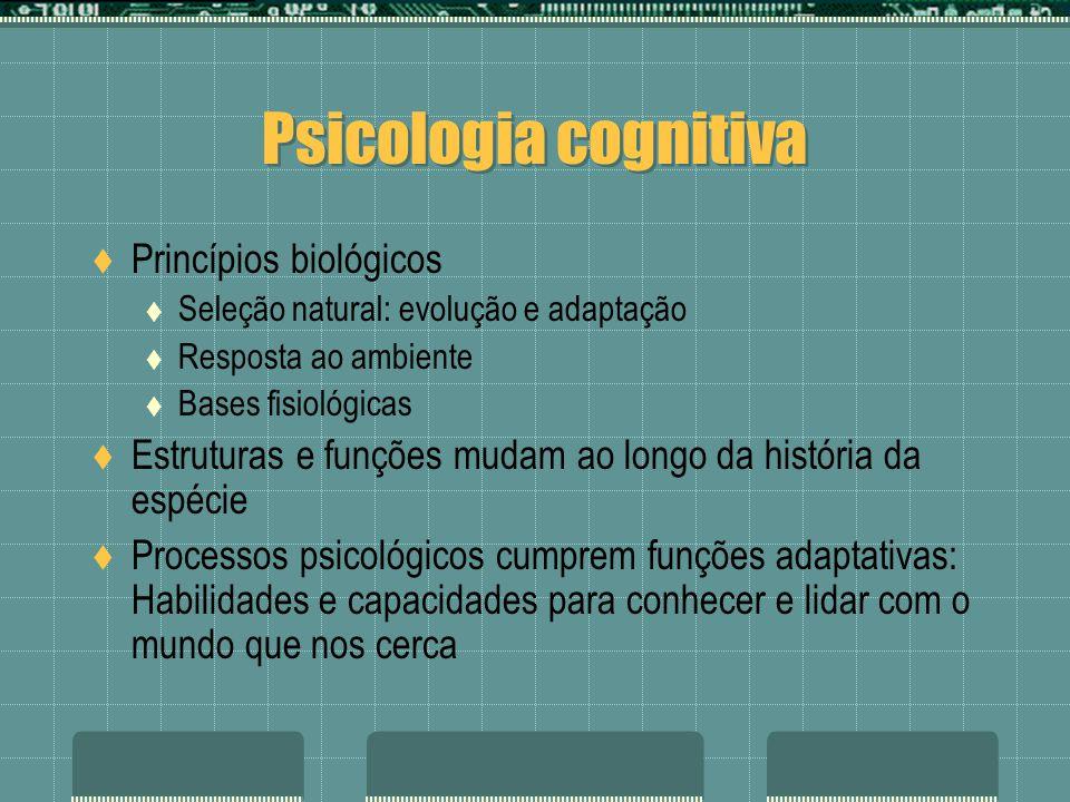 Psicologia cognitiva Princípios biológicos Seleção natural: evolução e adaptação Resposta ao ambiente Bases fisiológicas Estruturas e funções mudam ao