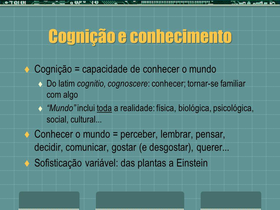 Cognição e conhecimento Cognição = capacidade de conhecer o mundo Do latim cognitio, cognoscere : conhecer; tornar-se familiar com algo Mundo inclui toda a realidade: física, biológica, psicológica, social, cultural...