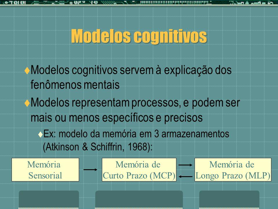 Modelos cognitivos Modelos cognitivos servem à explicação dos fenômenos mentais Modelos representam processos, e podem ser mais ou menos específicos e precisos Ex: modelo da memória em 3 armazenamentos (Atkinson & Schiffrin, 1968): Memória Sensorial Memória de Curto Prazo (MCP) Memória de Longo Prazo (MLP)