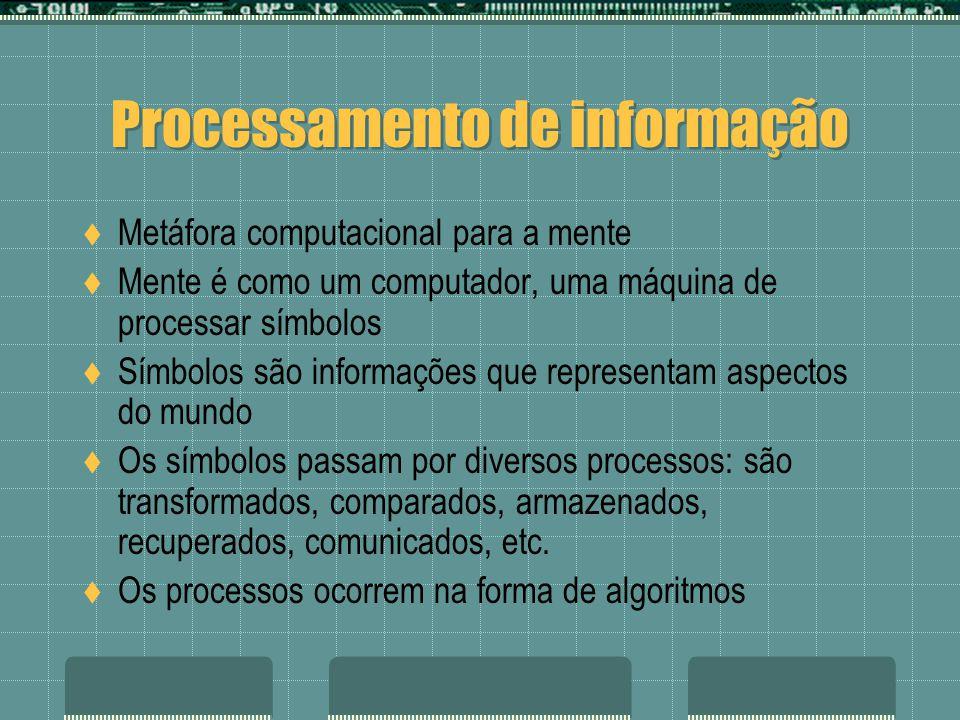 Processamento de informação Metáfora computacional para a mente Mente é como um computador, uma máquina de processar símbolos Símbolos são informações que representam aspectos do mundo Os símbolos passam por diversos processos: são transformados, comparados, armazenados, recuperados, comunicados, etc.