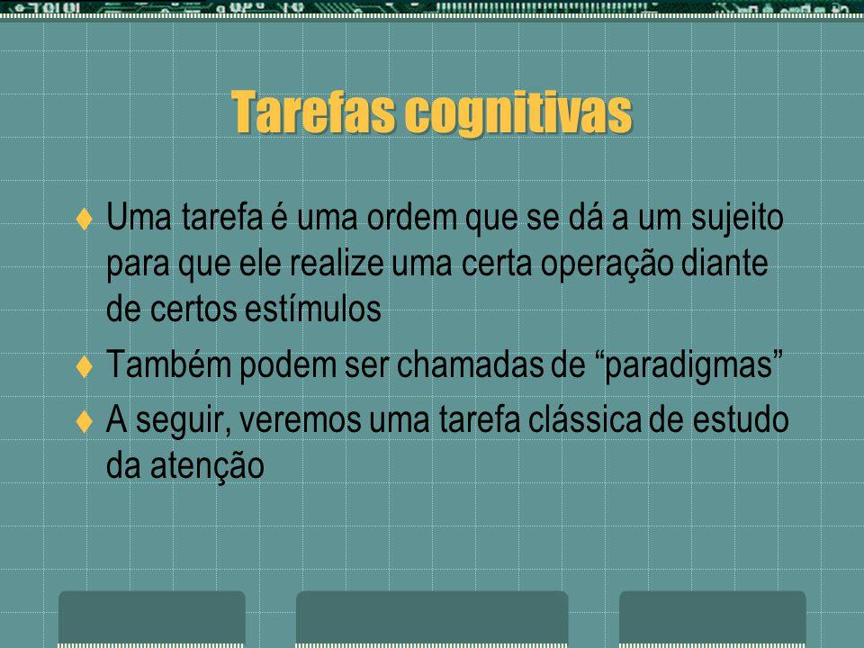 Tarefas cognitivas Uma tarefa é uma ordem que se dá a um sujeito para que ele realize uma certa operação diante de certos estímulos Também podem ser chamadas de paradigmas A seguir, veremos uma tarefa clássica de estudo da atenção