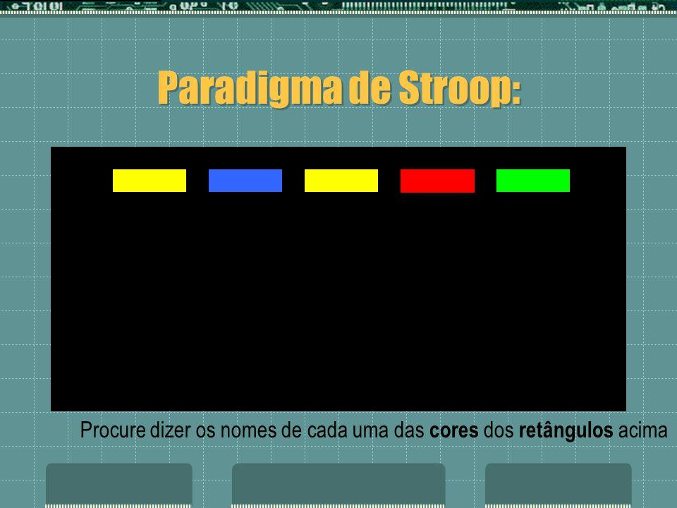 azul roxo azul verde vermelho amarelo verde vermelho roxo azul vermelho amarelo Paradigma de Stroop: Procure dizer os nomes de cada uma das cores dos retângulos acima