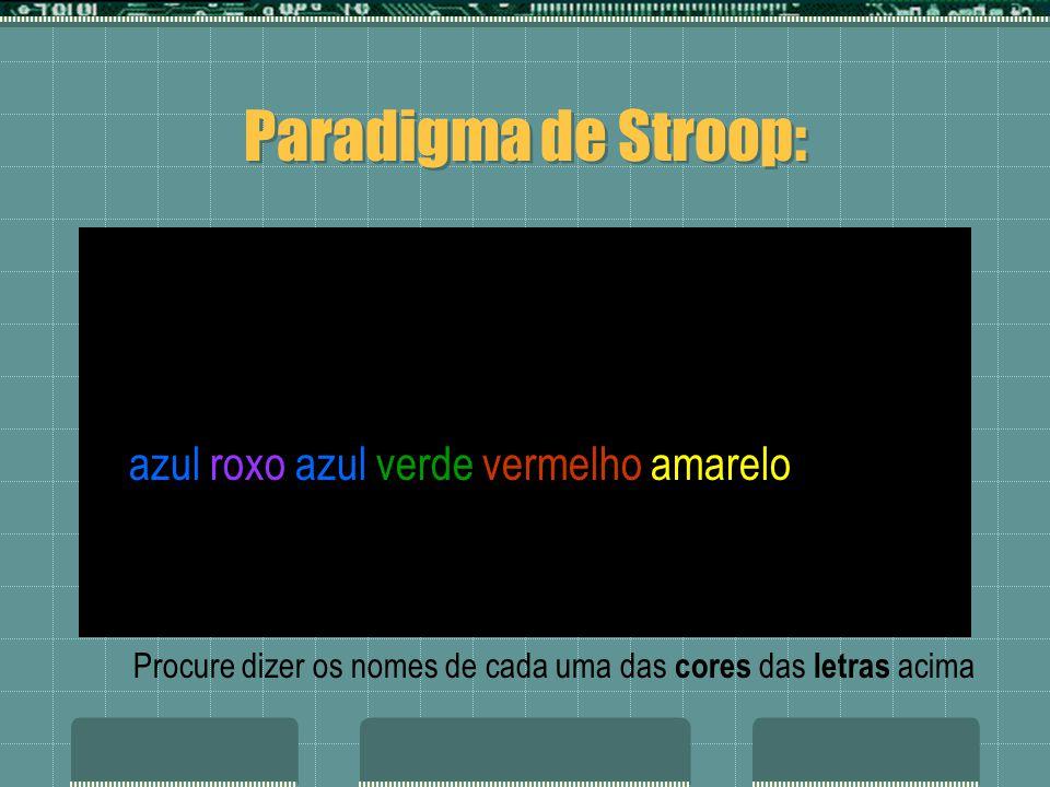azul roxo azul verde vermelho amarelo verde vermelho roxo azul vermelho amarelo Paradigma de Stroop: Procure dizer os nomes de cada uma das cores das