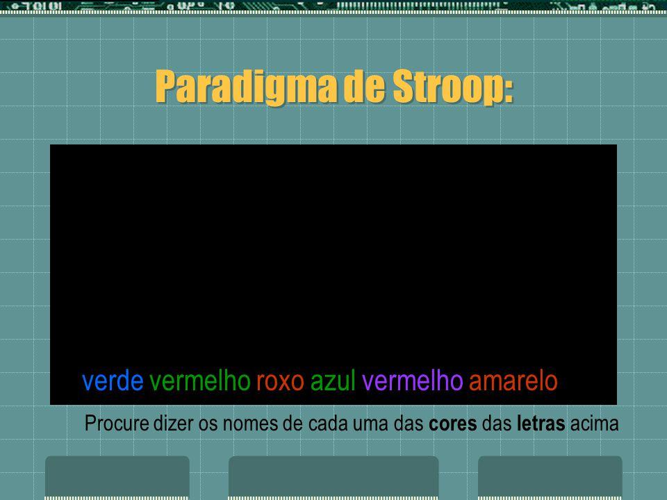 azul roxo azul verde vermelho amarelo verde vermelho roxo azul vermelho amarelo Paradigma de Stroop: Procure dizer os nomes de cada uma das cores das letras acima