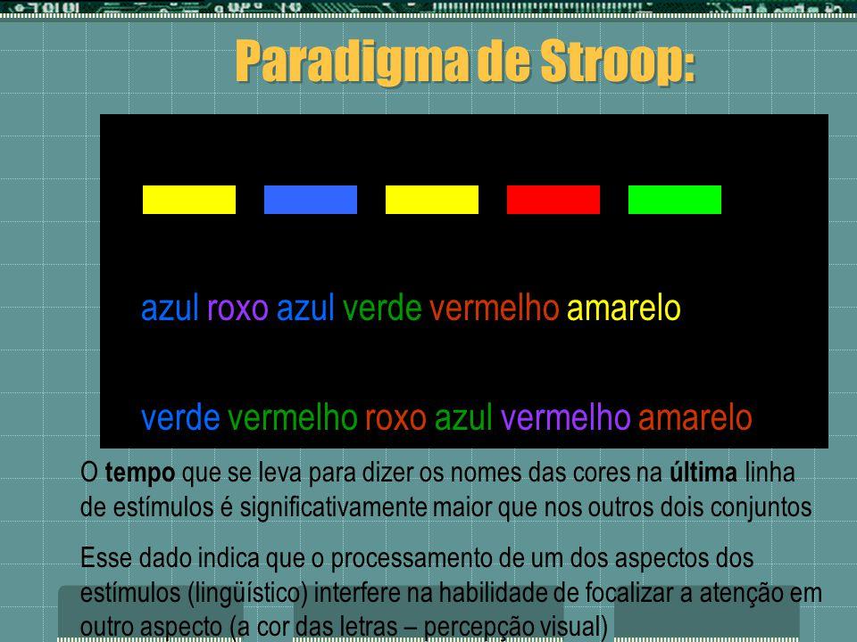azul roxo azul verde vermelho amarelo verde vermelho roxo azul vermelho amarelo Paradigma de Stroop: O tempo que se leva para dizer os nomes das cores