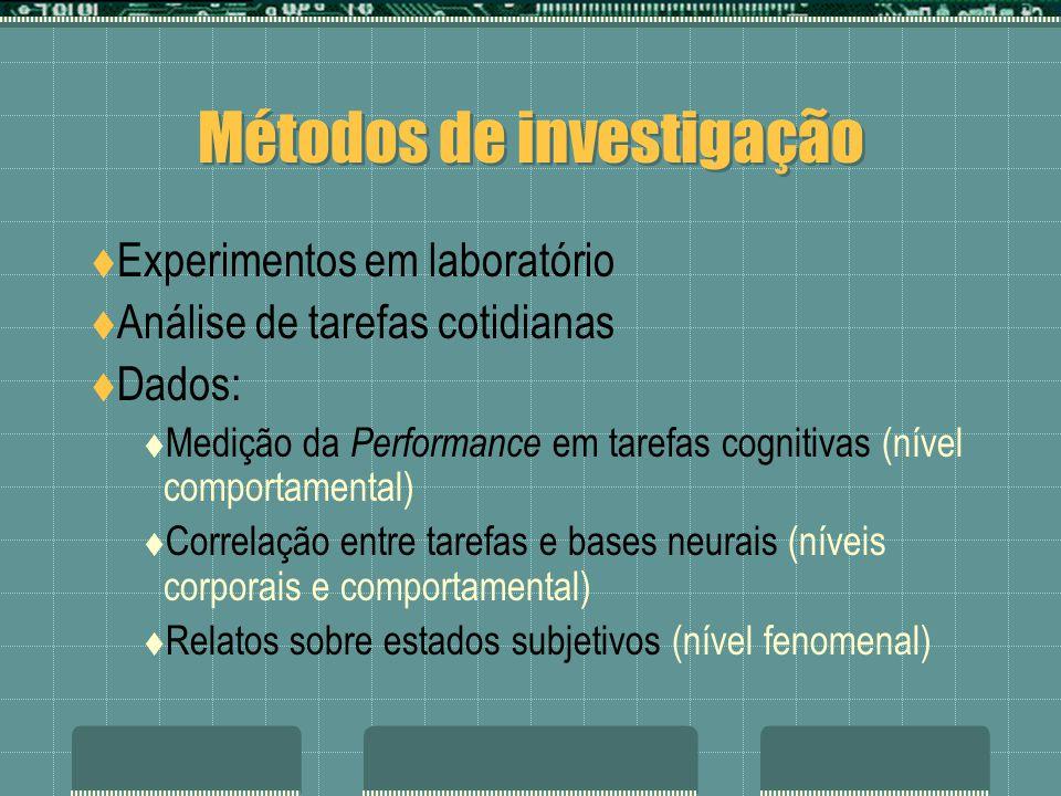 Métodos de investigação Experimentos em laboratório Análise de tarefas cotidianas Dados: Medição da Performance em tarefas cognitivas (nível comportamental) Correlação entre tarefas e bases neurais (níveis corporais e comportamental) Relatos sobre estados subjetivos (nível fenomenal)